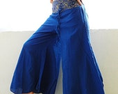 Blue Cotton Pant With Gold Embroidery Gypsy Yoga Comfort Free Size