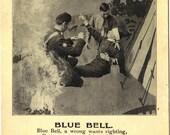 British Soldier Dying Military Man - Poem Blue Bell Vintage Postcard