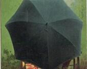 Vintage Postcard Sweethearts Umbrella Lovers Hiding