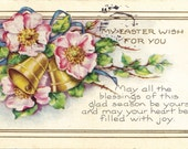 Antique Easter Postcard Country Rose and Bells