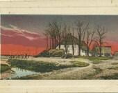Antique Postcard - Country Sunset - Farm Scene - Crimson Sky - 1912 - 100 Years Old
