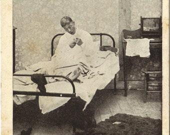 Antique Postcard Man in Nightgown In Bed Comic