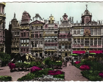 Colorized Real Photograph Postcard of Brussels Belgium Castle