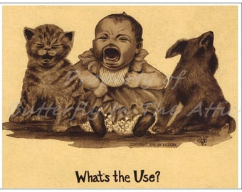 1 Old Fashioned Postcard Baby, Puppy, Kitten Crying - Standard Cards - Blank - Stationary