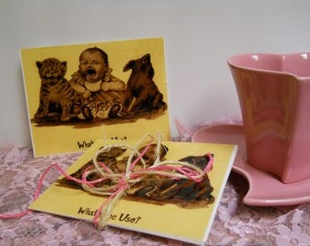 Set of 6 Blank Postcard  Baby, Puppy, Kitten Crying - Standard Size Cards - Old Fashioned Commic