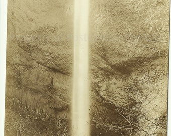 Latourell Falls - Columbia River Oregon - Vintage Sienna  RPPC Real Photo Postcard -