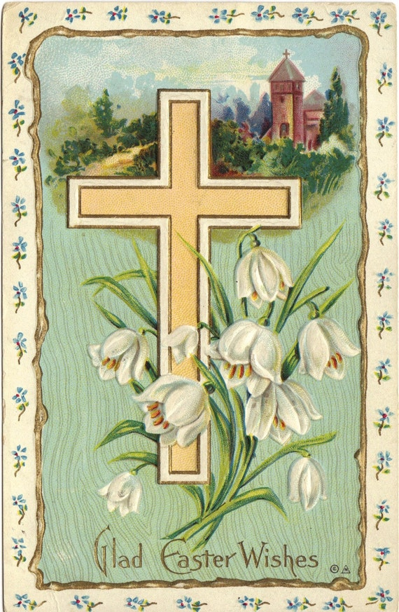Cross and Coral Bells Easter Greeting Vintage Postcard