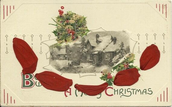 Antique Novelty Christmas Postcard - Glitter - Ribbon - Winter Scene - Greeting Card