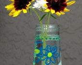 Painted clear glass vase floral flowers jar