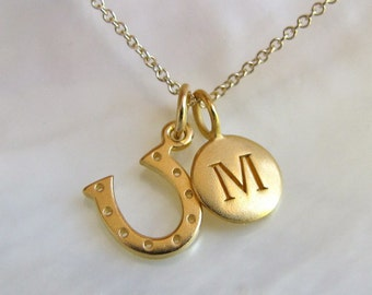 Gold Initial & Horseshoe Charm Necklace - Initial Necklace - Horseshoe Jewelry - Personalized Gift
