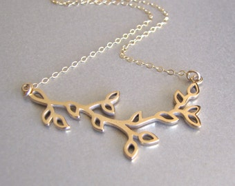 Gold Branch & Leaves Necklace