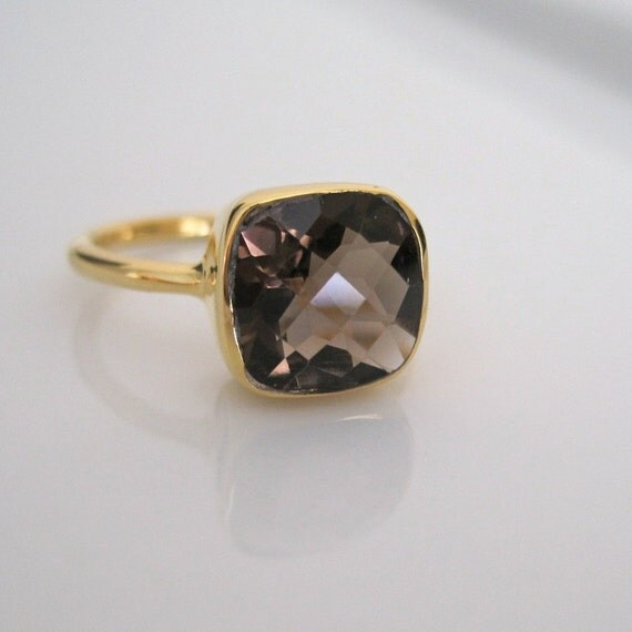 18K Gold Vermeil Faceted Smoky Quartz Ring - Size 7