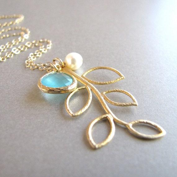 Sea Foam & Pearl Gold Branch Necklace