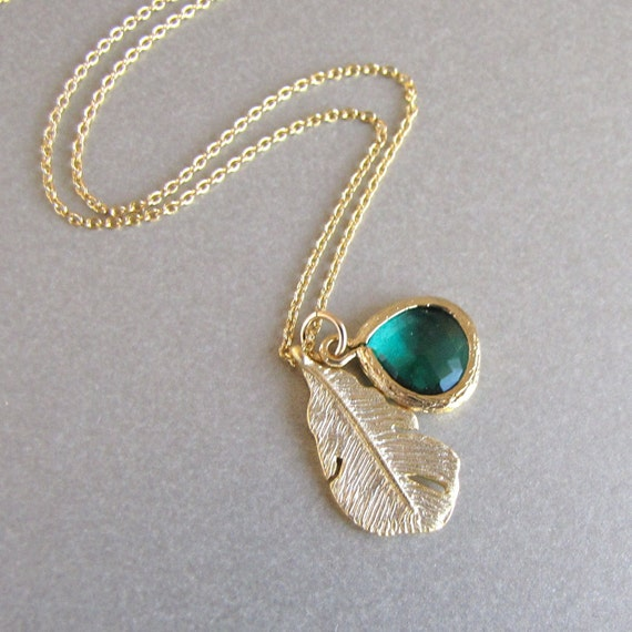 Gold Leaf & Emerald Necklace