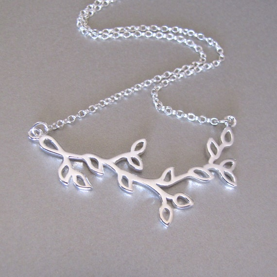 Silver Branch & Leaves Necklace