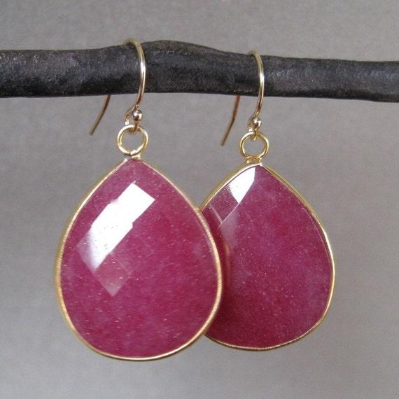 SALE - Large Ruby Bezel Set Gold Earrings