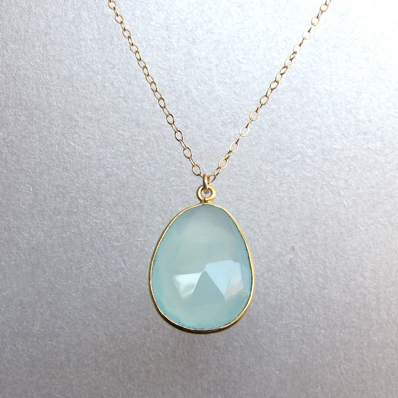 sea foam chalcedony pendant necklace