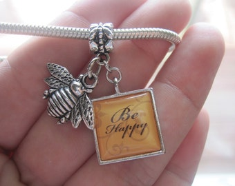 Be Happy Tile with Bee charm on a Large Whole Bead