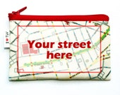 CUSTOM MAP WALLET  - personalized coin purse printed wallet  - you choose any place in the world