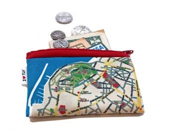 TEL AVIV JAFFA map wallet for men for woman for travellers, zipper pouch business card holder