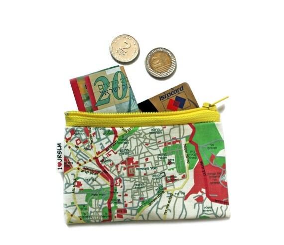 Coin purse wallet zipper pouch JERUSALEM map wallet souvenir from Israel the holy land