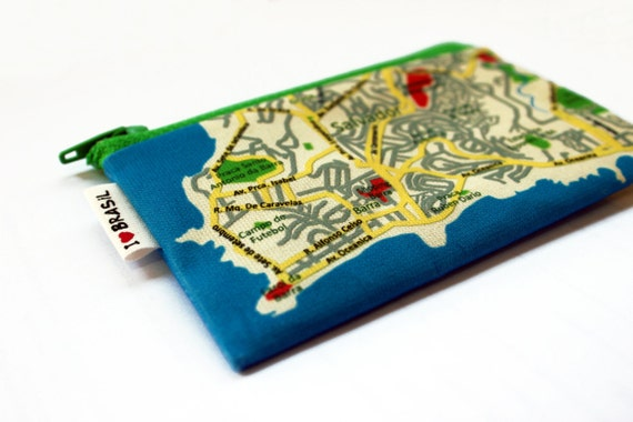 Coin purse wallet colorfull and unique with BRASIL map printed on it - Souvenir from Rio and Salvador - Carnaval - Map pattern coin purse