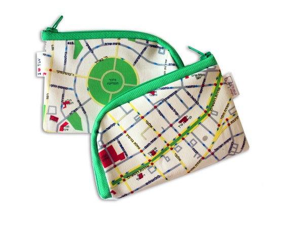 On Sale - Coin purse, I love TEL AVIV Map Wallet, coin purse / souvenir from Israel / with green zipper / written in Hebrew