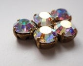 5 Pcs - 10mm Crystal AB Swarovski chatons montees with brass-plated setting