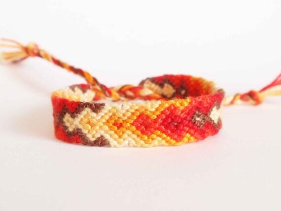Friendship bracelet, fall colors, arrow bracelet, halloween, red orange yellow (ready to ship)