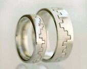 Unique wedding band set, geometric wedding ring, for him, for her, 14K White Gold - Eternal Line Set