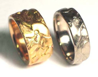 Wedding band set, sculpted ring, organic wedding band, his and hers, choice of 14k yellow, white or rose gold - Landscape Set