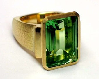 Green tourmaline ring, bezel setting, European shank, statement ring, large gemstone ring, emerald-cut tourmaline (stone sold separately)