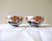 Vintage Japanese Rice Bowls Gold Koi Fish Flowers Set of 2 Small Chawan
