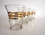 Gold Striped Glasses Mid Century Modern Vintage Retro Barware