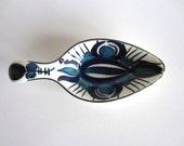 Royal Copenhagen Fajance Spoon Rest Inge-Lise Koefoed Danish Modern Mid Century Denmark Blue Green White Pottery 155/1997