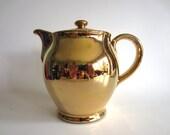 Denby Gold Teapot  Coffee Pot Hot Water Jug Vintage 50s Mid Century Modern English Retro