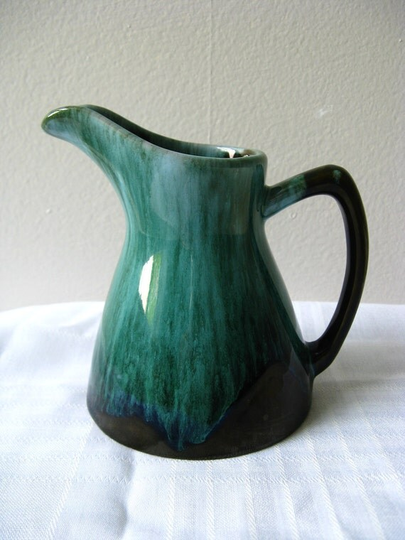 Blue Mountain Pottery Pitcher Green Glaze Jug Early By Pillowsophi