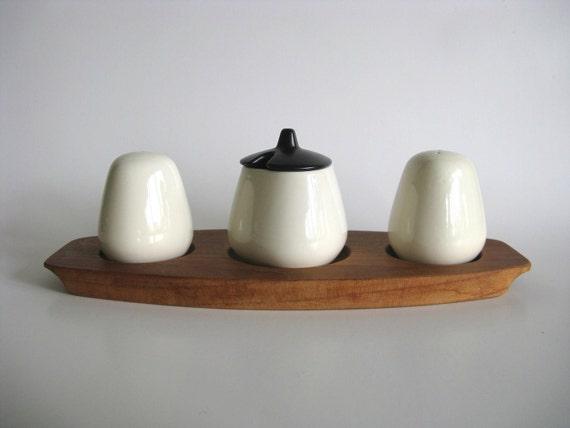 Knabstrup Denmark Cruet Set White Salt Pepper Mustard Wood Tray Danish Mid Century Modern