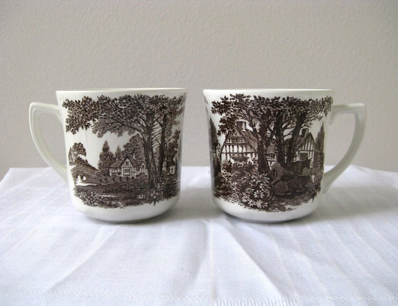 J&G Meakin Cups Set 2 Transferware White and Brown Country Houses and Cows