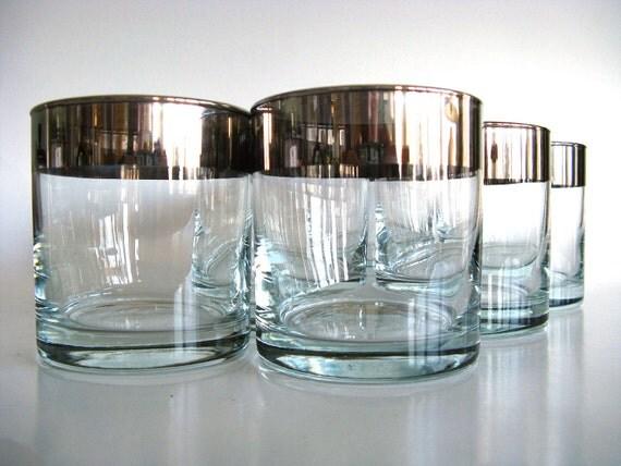 Silver Rim Glasses Dorothy Thorpe Style Set of Six (6) Lowball Mid Century Modern Retro Tumblers Barware