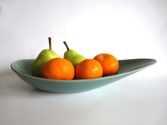Denby Manor Green Fruit Bowl Mid Century Modern Teal English Stoneware Pottery Made in England