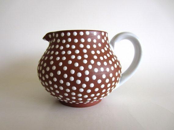 Zeuthen Denmark Pitcher Redware with White Polka Dot Glaze Mid Century Modern Scandinavian Pottery