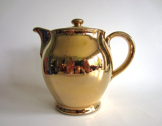 Denby Gold Teapot  Coffee Pot Hot Water Jug Vintage 50s Mid Century Modern English Retro