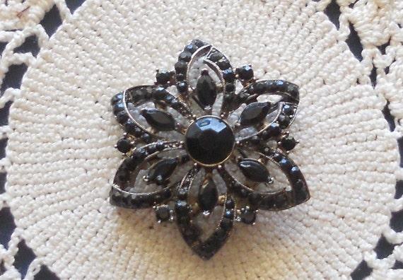 Vintage Black Rhinestone Pin Brooch