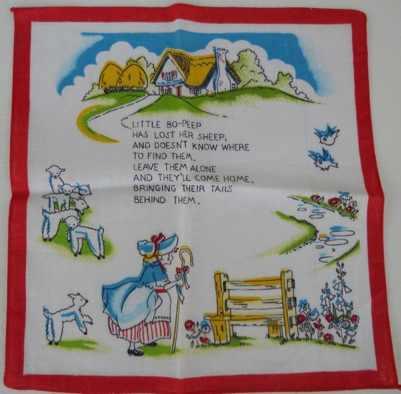 Vintage Child's Nursery Rhyme Handkerchief  Free Shipping