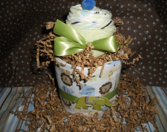 JUST OUT OF The Oven Jungle  Tabletop Diaper Cake Receiving Blanket Washcloths