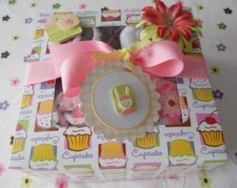Baby Girl 2 Onesie and  4 Washcloths Cupcake Gift Set