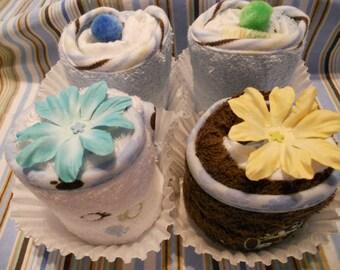 NEW Scrumptious Baby Washcloth/Diaper Cupcake Gift Set