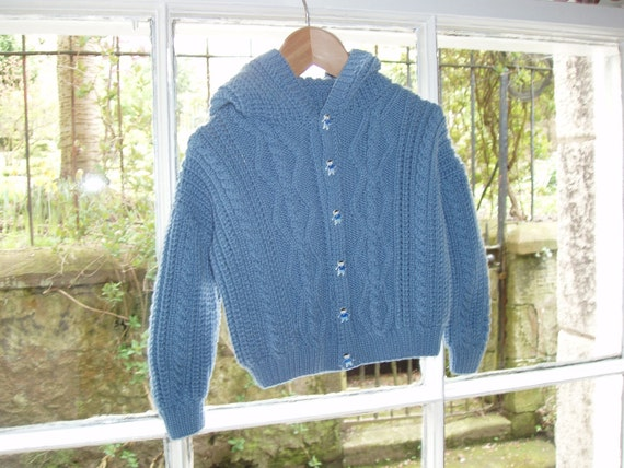 RESERVED for Loftin - Pure Cashmere Blue Hoodie / Sweater  Age 1 - 2  Hand Knitted in Scotland