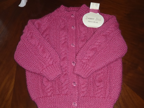 Quality Hand Knitted Pink Alpaca and silk Cabled Cardigan / Sweater  Age 2 - 4